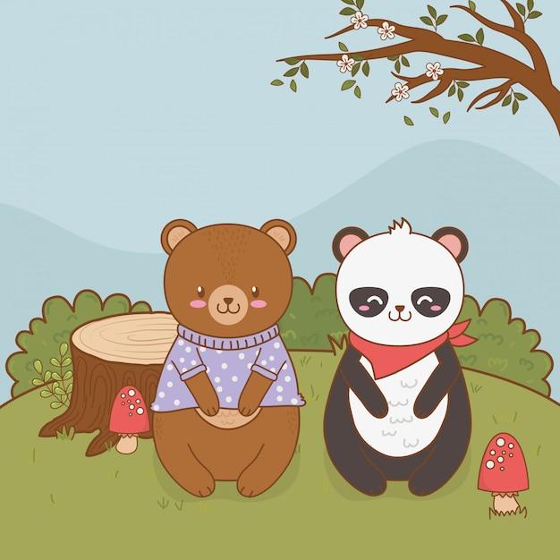 かわいいクマパンダとフィールドの森の文字でテディ Premiumベクター