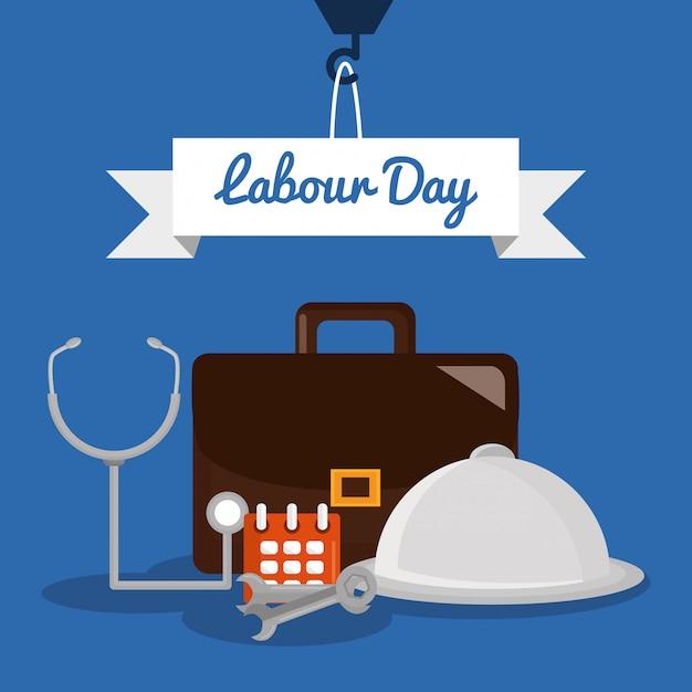День труда. портфолио с гаечными ключами и рабочими элементами Premium векторы