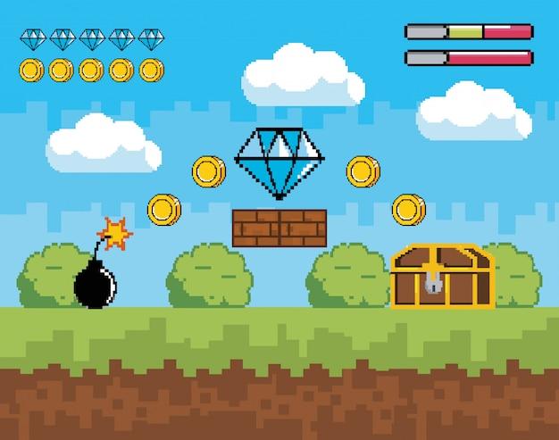 ライフバーとコインとダイヤモンドのビデオゲームシーン Premiumベクター