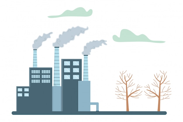 Промышленность с дизайном окон и дымоходов Premium векторы