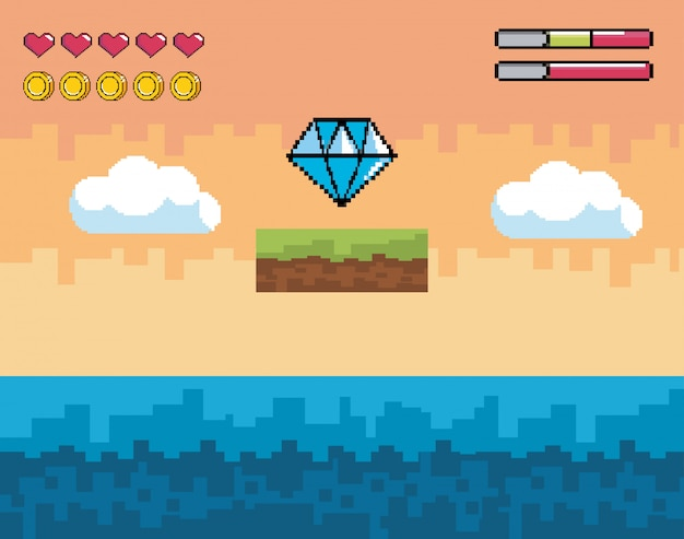 ピクセル化されたダイヤモンドとライフバーと水のビデオゲームシーン Premiumベクター