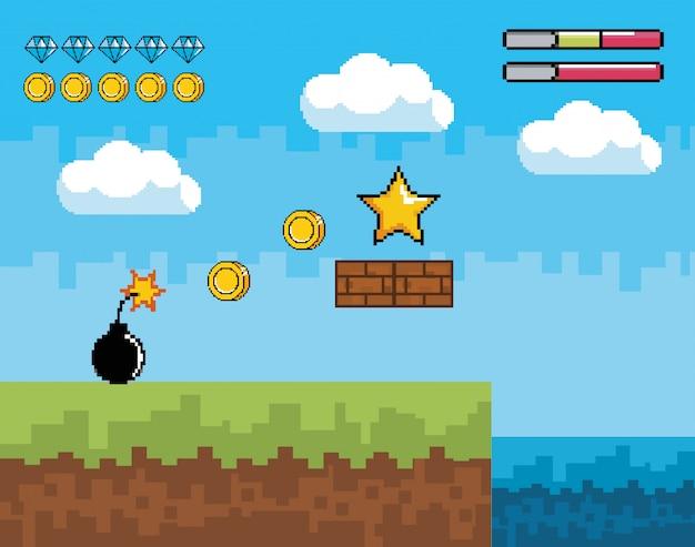 星とピクセル爆弾とコインのピクセル化されたビデオゲームシーン Premiumベクター