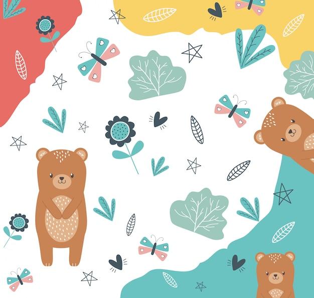 Медведь мультфильм дизайн векторные иллюстрации Premium векторы