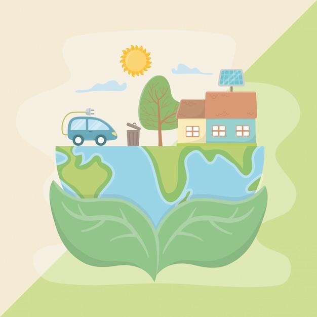 惑星を保持し、エネルギー設計を保存する葉 Premiumベクター