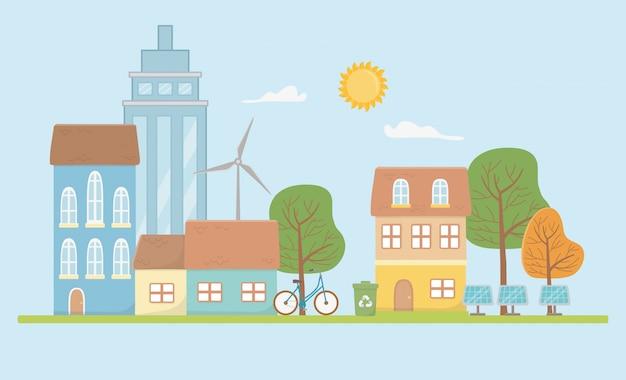 Эко город и сохранить дизайн планеты Premium векторы