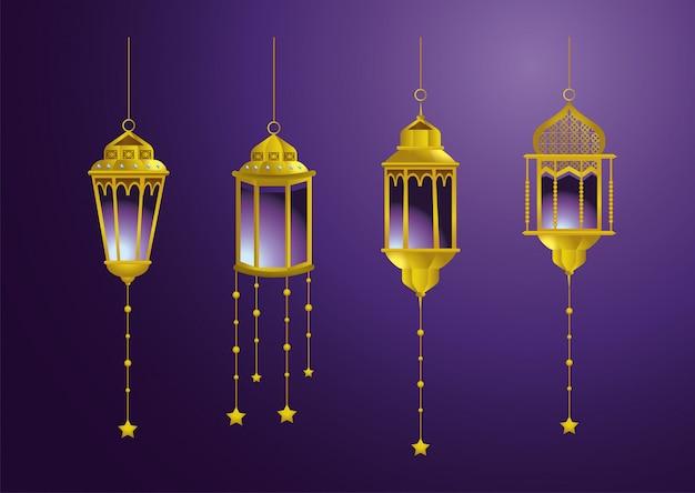 装飾をぶら下げ星とランプを設定します。 無料ベクター