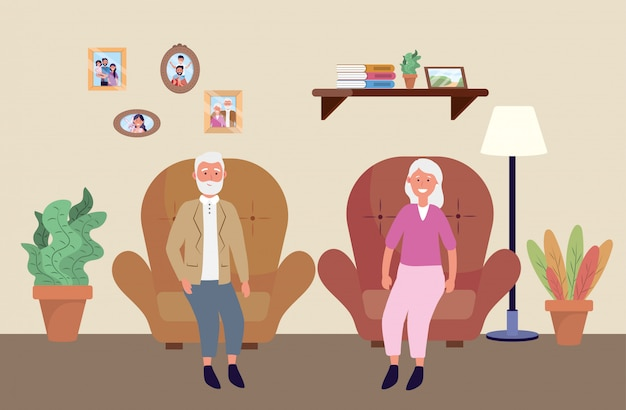Старая женщина и мужчина в кресле с растениями Бесплатные векторы