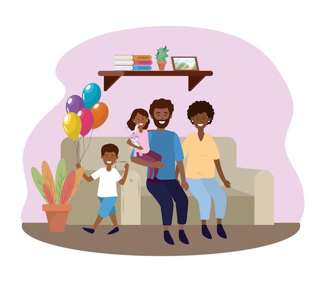 女と男の娘と息子とソファの中 無料ベクター