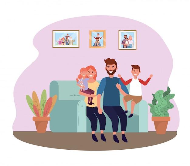 Мужчина и женщина на диване с дочерью и сыном Бесплатные векторы