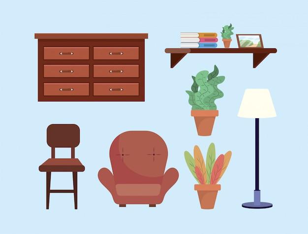 ドレッサーと椅子のあるリビングルームの装飾を設定します。 無料ベクター