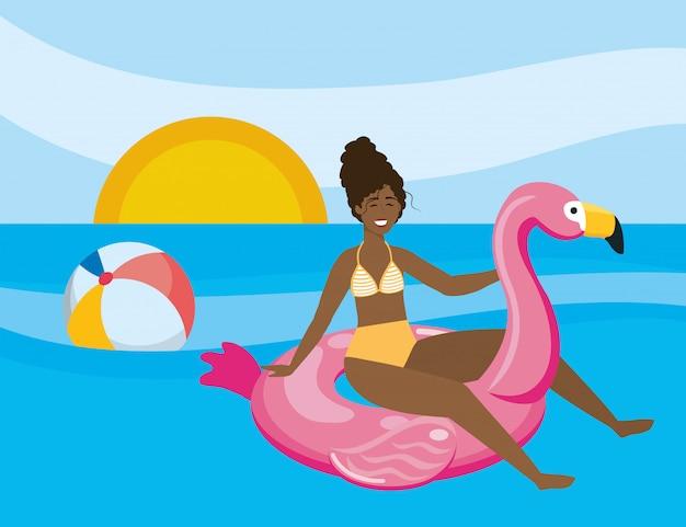 夏の水着を持つ少女 無料ベクター