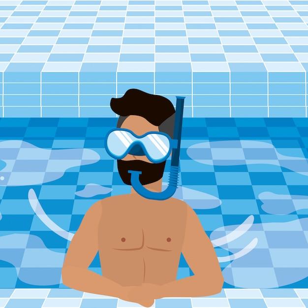 夏の水着を持つ少年 無料ベクター