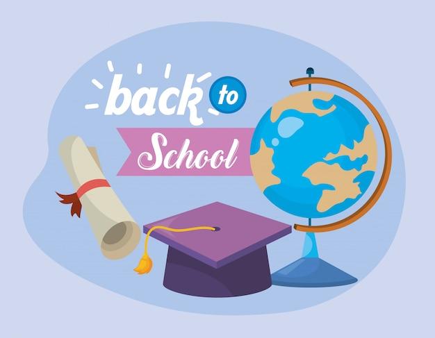 グローバルマップデスクと卒業証書付きの卒業キャップ 無料ベクター