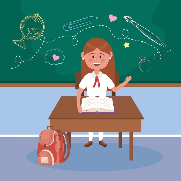 本とバックパックを机の上の女子生徒 無料ベクター