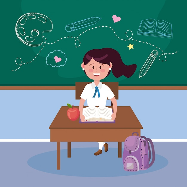 Студентка с яблочным фруктом и книгой на столе Бесплатные векторы