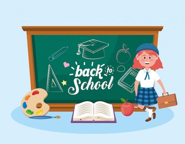 黒板とアートパレットの本を持つ女子生徒 無料ベクター
