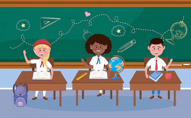 Мальчик и девочки-студенты за столом с книгой Бесплатные векторы