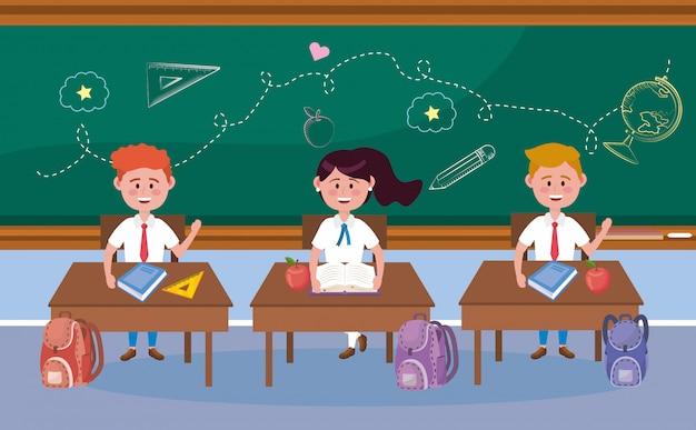 机とバックパックの男の子と女の子の学生 無料ベクター
