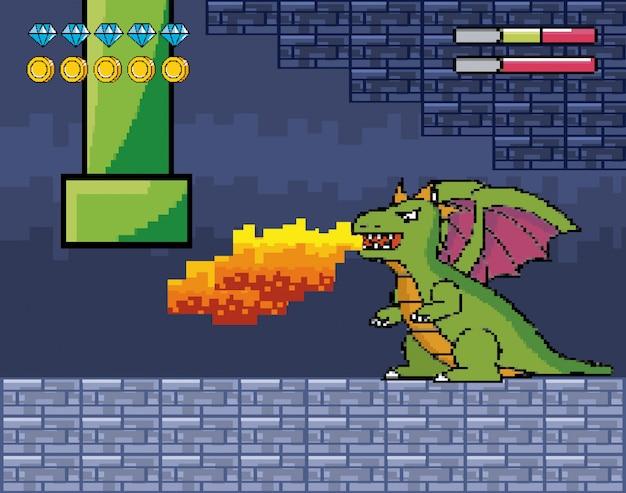 ドラゴンはチューブとライフバーで火を吐きます 無料ベクター