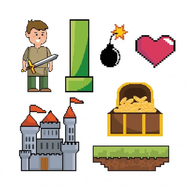 ピクセル化されたビデオゲームシーンのセット 無料ベクター