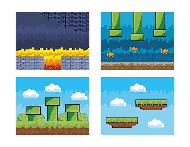 ビデオゲームのピクセルシーンのセット 無料ベクター