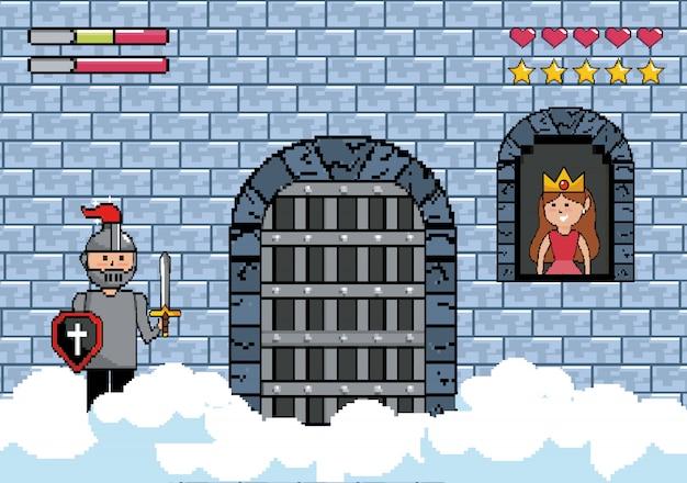 城のドアと窓の中の王女卿 無料ベクター