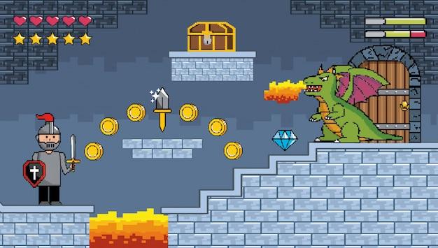 Сэр мальчик и дракон выплевывает огонь с казной и монетами Бесплатные векторы