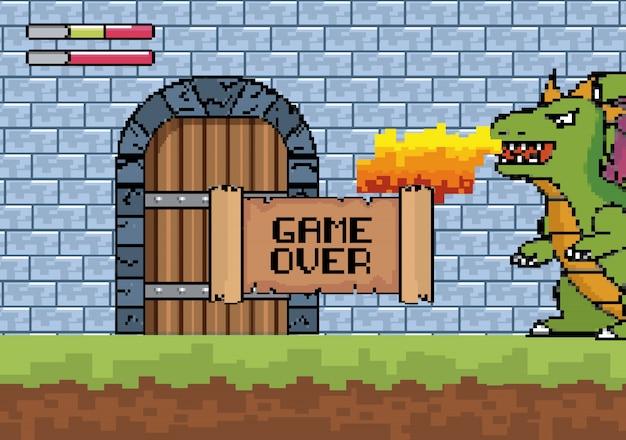 Дракон выплевывает огонь в дверь замка с сообщением о завершении игры Бесплатные векторы