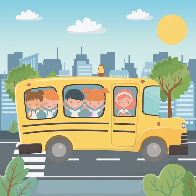 スクールバスと子供たち 無料ベクター
