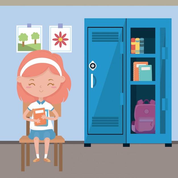 学校の教室と女の子 無料ベクター
