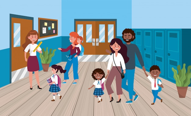 Женщина учитель с матерями и отцом с учениками Бесплатные векторы