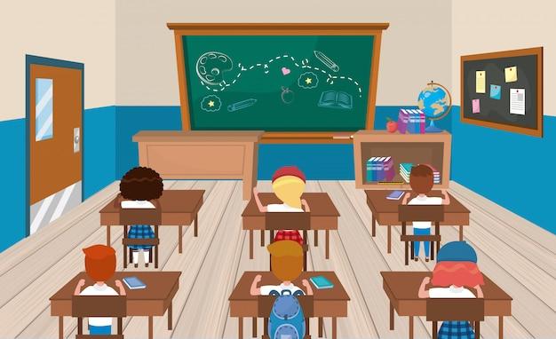 本と女の子と男の子の学生との教育の教室 無料ベクター