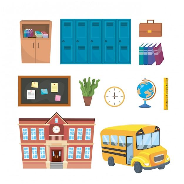 Набор учебных принадлежностей начальных для обучения Бесплатные векторы