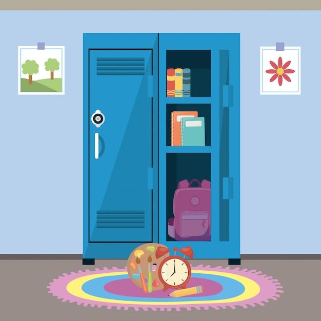 Школьный шкафчик и расходные материалы Бесплатные векторы