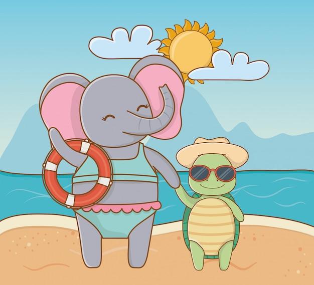 Милые животные наслаждаются летними каникулами Бесплатные векторы