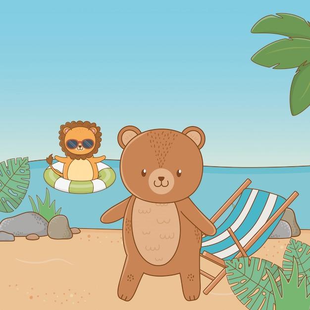 夏休みを楽しんでいるかわいい動物 無料ベクター