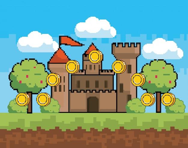 アーケードゲームの世界とピクセルシーン 無料ベクター