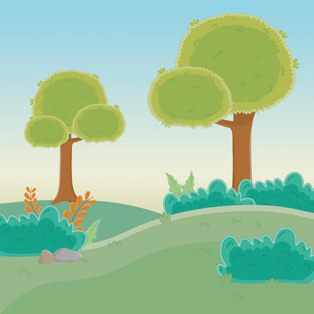 木のある森 無料ベクター