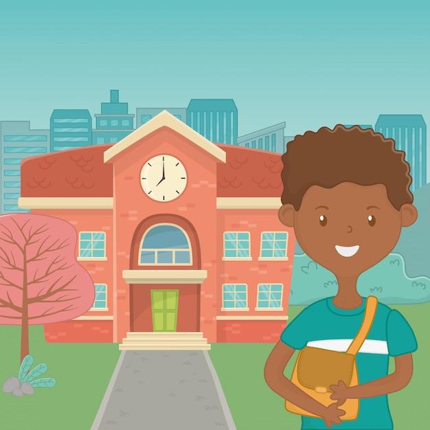 Мальчик мультфильм школьного дизайна Бесплатные векторы