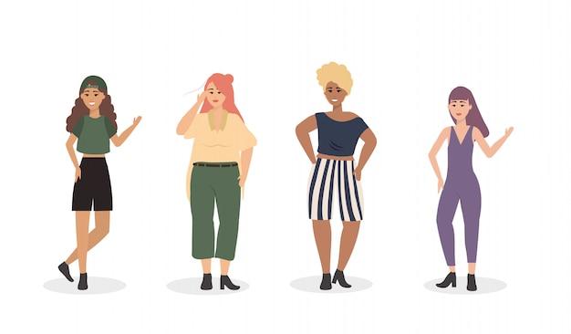 Набор девушек с повседневной одеждой и прической Бесплатные векторы