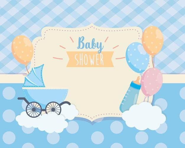 Этикетка детской коляски и декорирование воздушных шаров Бесплатные векторы