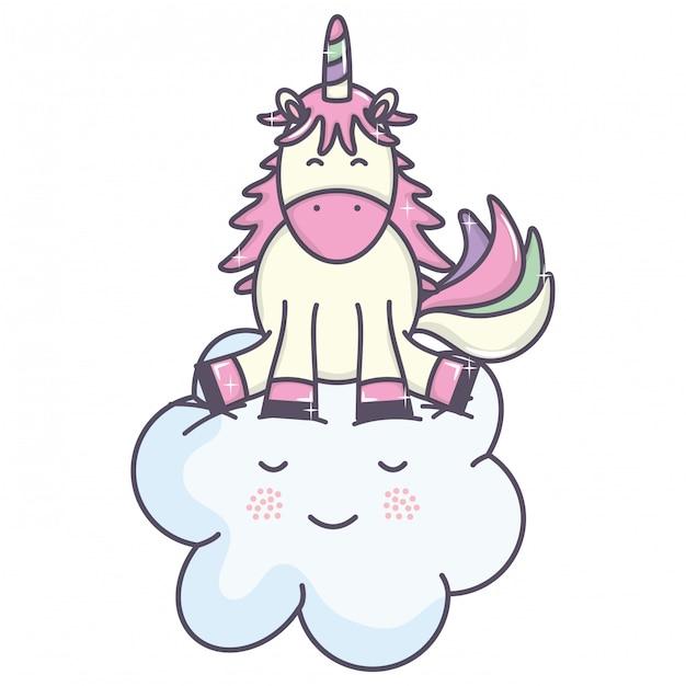 かわいい愛らしいユニコーンと雲かわいいかわいい妖精キャラクター 無料ベクター