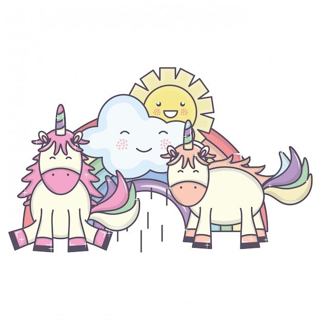Симпатичные единороги в радуге с облаками и солнцем каваи символов Бесплатные векторы