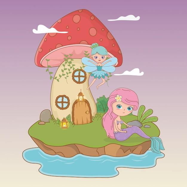 妖精と人魚のおとぎ話のシーン 無料ベクター