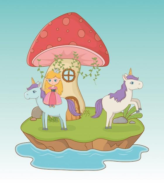 Сказочная сцена с грибком и принцессой в единороге Бесплатные векторы