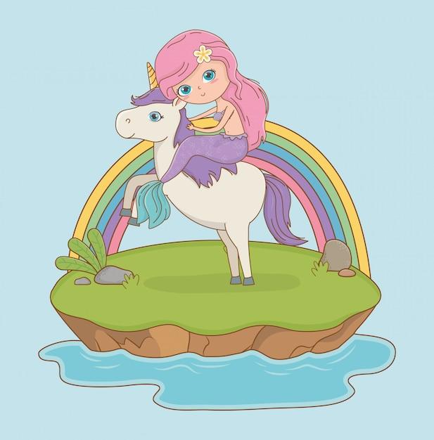 Сказочная сцена с принцессой в единороге Бесплатные векторы