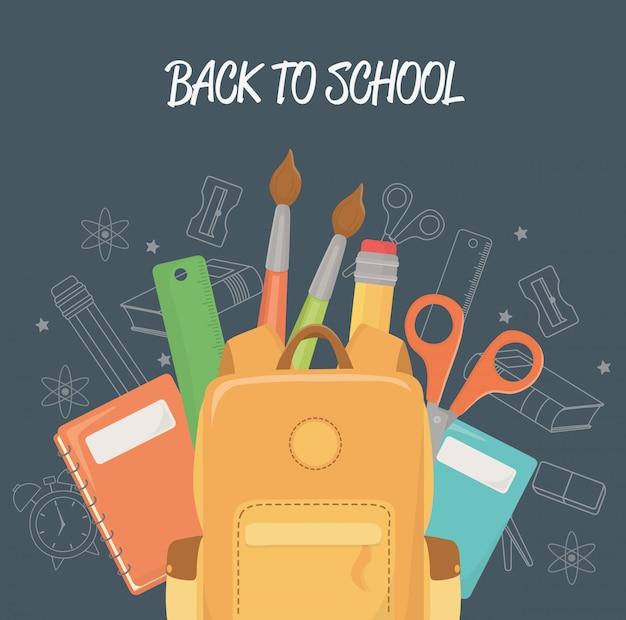 Школьная сумка и принадлежности обратно в школу Бесплатные векторы
