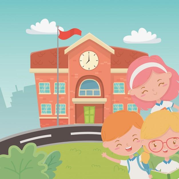シーンで子供たちと校舎 無料ベクター