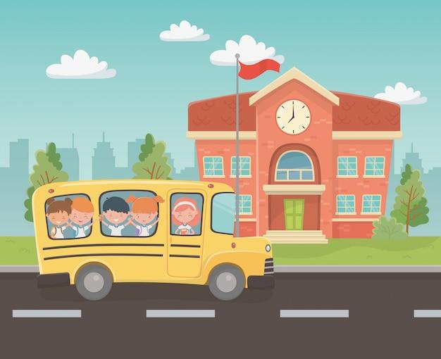 校舎とシーンで子供たちとバス 無料ベクター