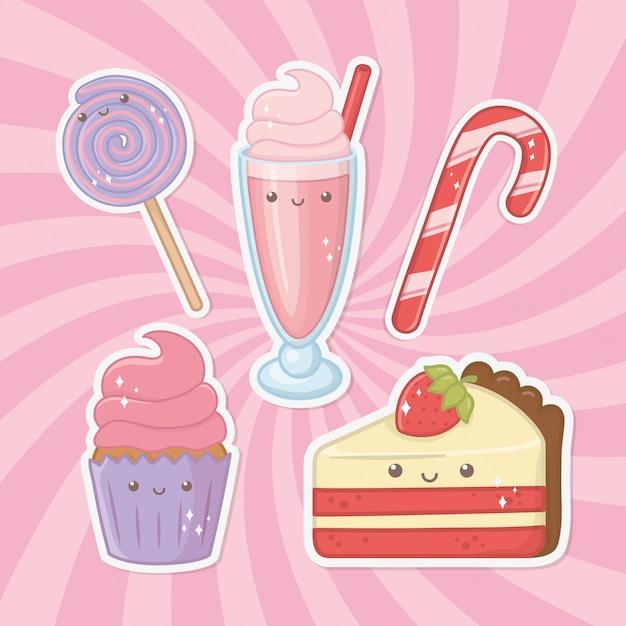 Вкусные и сладкие продукты каваи-персонажей Бесплатные векторы